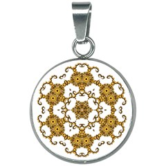 Fractal Tile Construction Design 20mm Round Necklace