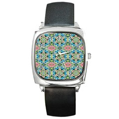 Tile Background Pattern Pattern Square Metal Watch