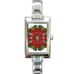 Mandala Fractal Graphic Design Rectangle Italian Charm Watch