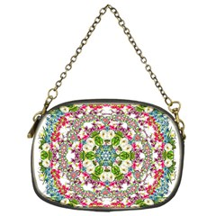 Floral Wreath Tile Background Image Chain Purse (one Side)