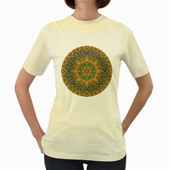 Colorful Pattern Color Women s Yellow T Shirt