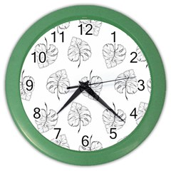 Tropical Leaves Color Wall Clock by goljakoff