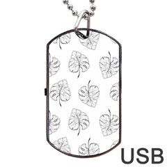 Tropical Leaves Dog Tag Usb Flash (one Side) by goljakoff