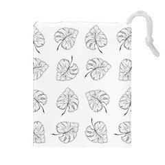 Tropical Leaves Drawstring Pouch (xl) by goljakoff