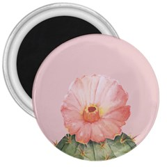 Cactus Flower On Pink Ink 3  Magnets by goljakoff