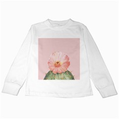 Cactus Flower On Pink Ink Kids Long Sleeve T Shirts by goljakoff