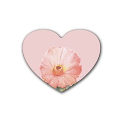 Cactus Flower On Pink Ink Rubber Coaster (heart)  by goljakoff