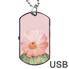 Cactus Flower On Pink Ink Dog Tag Usb Flash (two Sides) by goljakoff