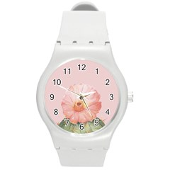 Cactus Flower On Pink Ink Round Plastic Sport Watch (m)