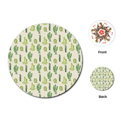Cactus Pattern Playing Cards (round) by goljakoff