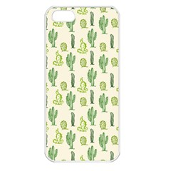 Cactus Pattern Apple Iphone 5 Seamless Case (white) by goljakoff