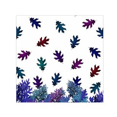 Blue Purple Leaves Small Satin Scarf (square) by LoolyElzayat