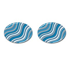 Blue Wave Surges On Cufflinks (oval) by WensdaiAddamns