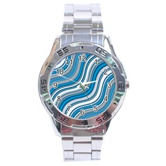 Blue Wave Surges On Stainless Steel Analogue Watch by WensdaiAddamns