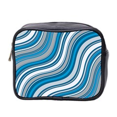 Blue Wave Surges On Mini Toiletries Bag (two Sides)