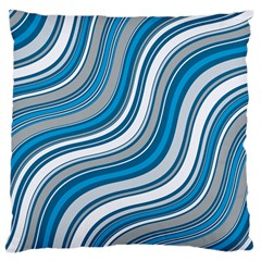 Blue Wave Surges On Large Flano Cushion Case (two Sides) by WensdaiAddamns
