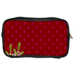 Vivid Burgundy & Heather Toiletries Bag (two Sides) by WensdaiAddamns