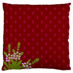 Vivid Burgundy & Heather Large Flano Cushion Case (two Sides) by WensdaiAddamns