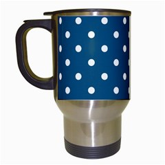Turquoise Polka Dot Travel Mugs (white) by retrotoomoderndesigns