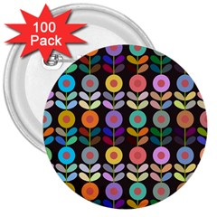 Zappwaits Flowers 3  Buttons (100 Pack)