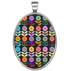 Zappwaits Flowers Oval Necklace