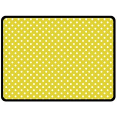 Yellow Polka Dot Double Sided Fleece Blanket (large)  by retrotoomoderndesigns