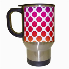 Rainbow Polka Dots Travel Mugs (white) by retrotoomoderndesigns