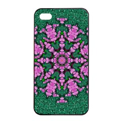 The Most Uniqe Flower Star In Ornate Glitter Apple Iphone 4/4s Seamless Case (black) by pepitasart