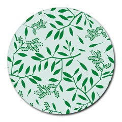 Leaves Foliage Green Wallpaper Round Mousepads by Mariart
