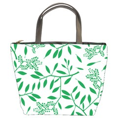 Leaves Foliage Green Wallpaper Bucket Bag by Mariart