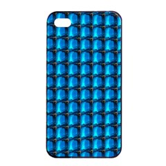 Background Pattern Structure Blue Apple Iphone 4/4s Seamless Case (black) by AnjaniArt