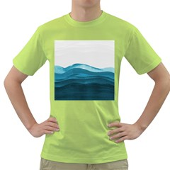 Ocean Waves Painting Green T Shirt by goljakoff
