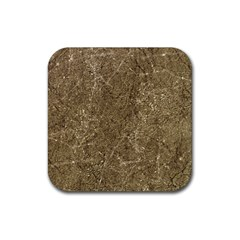 Grunge Abstract Textured Print Rubber Coaster (square)  by dflcprintsclothing