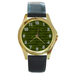 Seaweed Green Round Gold Metal Watch by WensdaiAmbrose