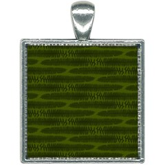 Seaweed Green Square Necklace by WensdaiAmbrose