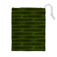 Seaweed Green Drawstring Pouch (xl) by WensdaiAmbrose