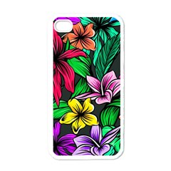 Neon Hibiscus Apple Iphone 4 Case (white)