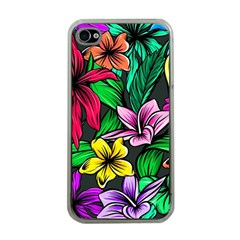 Neon Hibiscus Apple Iphone 4 Case (clear)