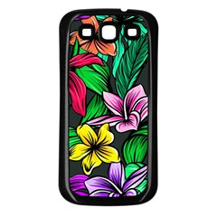 Neon Hibiscus Samsung Galaxy S3 Back Case (black)