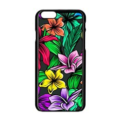 Neon Hibiscus Apple Iphone 6/6s Black Enamel Case