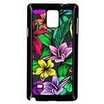 Neon Hibiscus Samsung Galaxy Note 4 Case (Black) Front