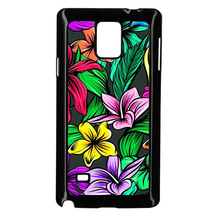 Neon Hibiscus Samsung Galaxy Note 4 Case (Black)