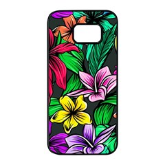 Neon Hibiscus Samsung Galaxy S7 Edge Black Seamless Case