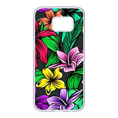 Neon Hibiscus Samsung Galaxy S7 Edge White Seamless Case