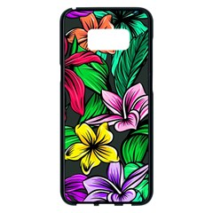 Neon Hibiscus Samsung Galaxy S8 Plus Black Seamless Case