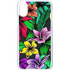 Neon Hibiscus Apple Iphone Xs Seamless Case (white)