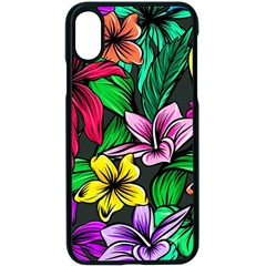 Neon Hibiscus Apple Iphone Xs Seamless Case (black)