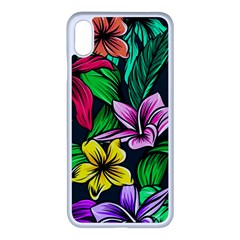 Neon Hibiscus Apple Iphone Xs Max Seamless Case (white)