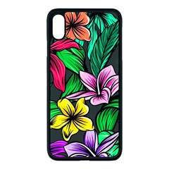 Neon Hibiscus Apple Iphone Xs Max Seamless Case (black)
