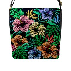 Hibiscus Dream Flap Closure Messenger Bag (l)